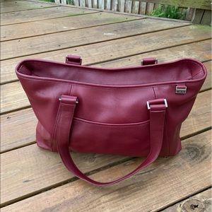 Stunning Cranberry Tumi Leather Bag Large w Bonus